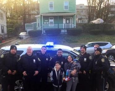 "Eight officers came together to give Edison, a fan of law enforcement, a special day Sunday. ""I don't think she expected the whole shift to come down,"" police Chief Brian Kyes said."